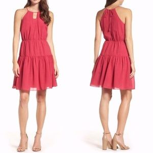NWT Chelsea28 Pink Tiered Dress Chiffon Keyhole